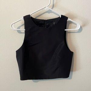 Tibi sleeveless black crop top